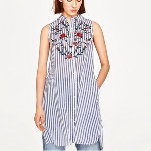 Zara embroidered floral blue striped tunic